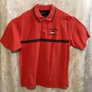 Faded Glory Orange/Red Sport Fishing Polo Shirt